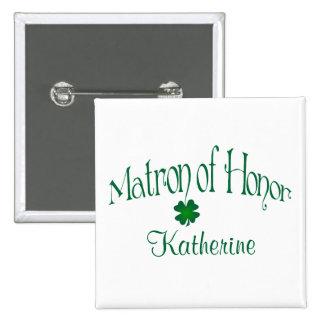 Emerald Green, White Shamrock Matron of Honor Pin