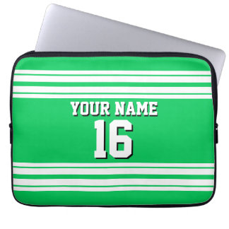 Emerald Green White Team Jersey Custom Number Name Computer Sleeve