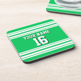 Emerald Green White Team Jersey Custom Number Name Drink Coaster