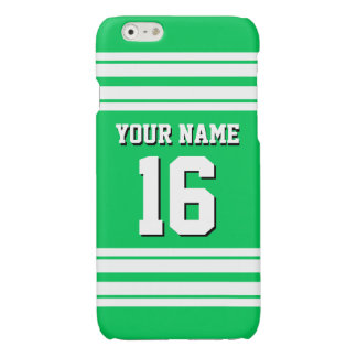 Emerald Green White Team Jersey Custom Number Name Glossy iPhone 6 Case