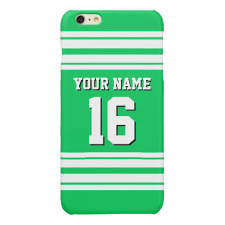 Emerald Green White Team Jersey Custom Number Name Glossy iPhone 6 Plus Case