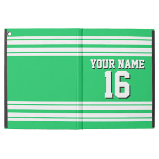 "Emerald Green White Team Jersey Custom Number Name iPad Pro 12.9"" Case"