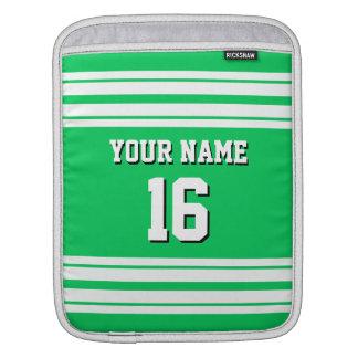 Emerald Green White Team Jersey Custom Number Name iPad Sleeve