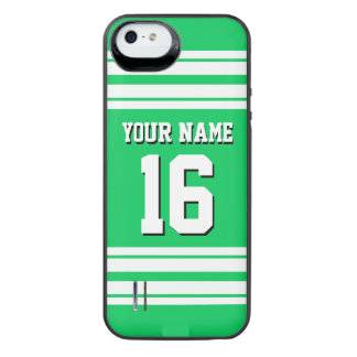 Emerald Green White Team Jersey Custom Number Name iPhone SE/5/5s Battery Case