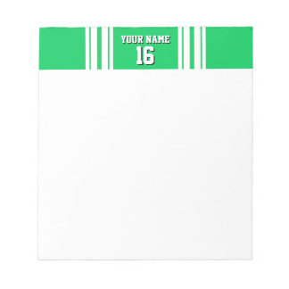 Emerald Green White Team Jersey Custom Number Name Notepad