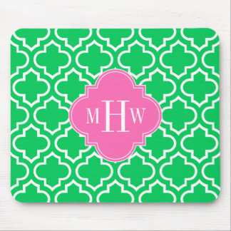 Emerald Green Wht Moroccan #6 Hot Pink 3I Monogram Mouse Pad