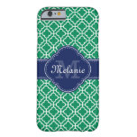 Emerald Green Wht Moroccan Pattern Navy Monogram Barely There iPhone 6 Case