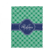 Emerald Green Wht Moroccan Pattern Navy Monogram Fleece Blanket