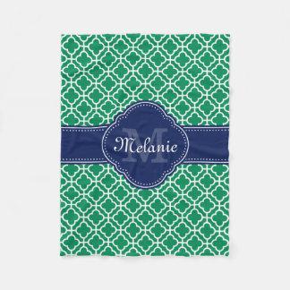 Emerald Green Wht Moroccan Pattern Navy Monogram Fleece Blanket