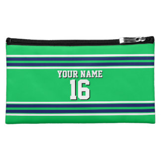 Emerald Green with Navy White Stripes Team Jersey Cosmetic Bag