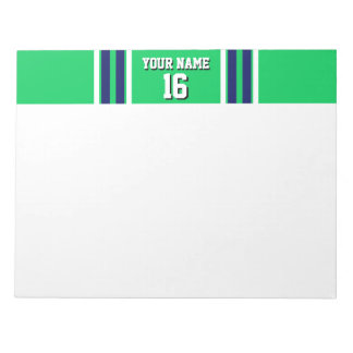 Emerald Green with Navy White Stripes Team Jersey Notepad