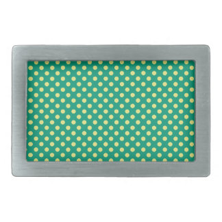 Emerald Green with Yellow Polka Dots by STaylor Rectangular Belt Buckle
