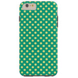 Emerald Green With Yellow Polka Dots Tough iPhone 6 Plus Case