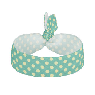 Emerald Green With Yellow Polka Dots Hair Ties