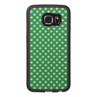 Emerald Green With Yellow Polka Dots Wood Phone Case