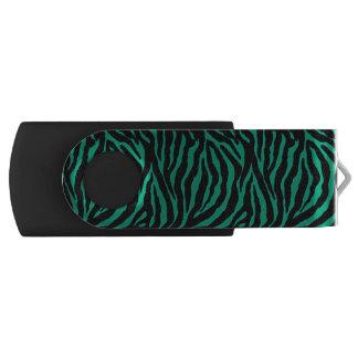 Emerald Green Zebra Animal Print Flash Drive Swivel USB 2.0 Flash Drive