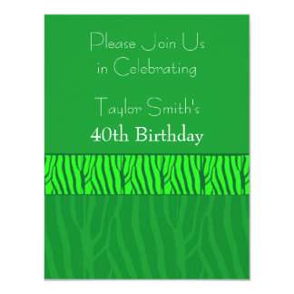 Emerald Green Zebra Pattern  Birthday Invitation