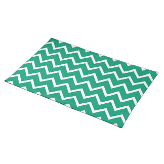 Emerald Green Zig Zag Chevron Cloth Placemat