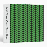 Emerald Green Zigzags inspired by Knitting. Vinyl Binders