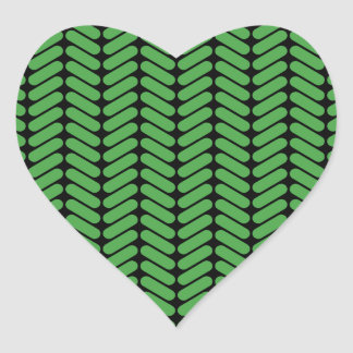 Emerald Green Zigzags inspired by Knitting. Heart Sticker