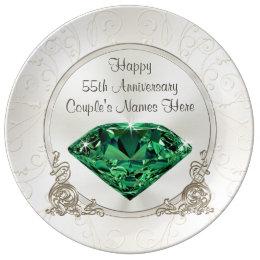 55th wedding anniversary plates zazzle