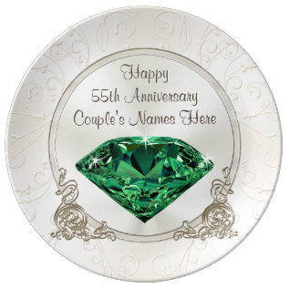 Emerald Happy 55th Anniversary Gifts Personalized Plate at Zazzle