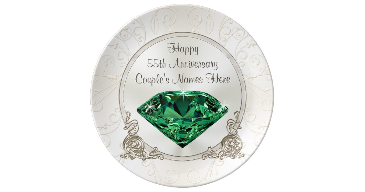 Emerald Happy 55th Anniversary Gifts Personalized Plate