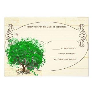Emerald Heart Leaf Tree Barn Wood Wedding RSVP