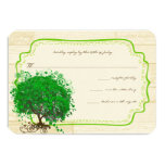 Emerald Heart Leaf Tree Barn Wood Wedding RSVP 3.5x5 Paper Invitation Card
