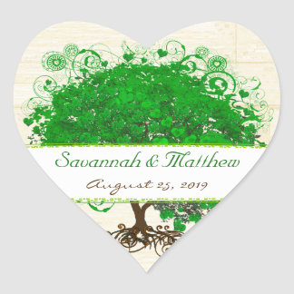 Emerald Heart Leaf Tree Barn Wood Wedding Seal