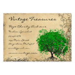 Emerald Heart Leaf Tree Swirl Large Business Cards (Pack Of 100)