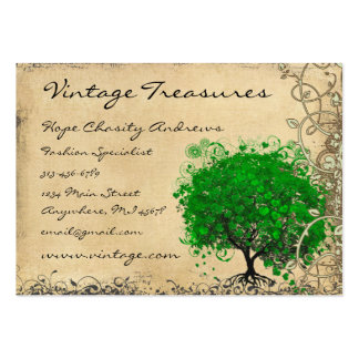 Emerald Heart Leaf Tree Swirl Large Business Card
