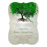 Emerald Heart Leaf Tree Wedding Invites