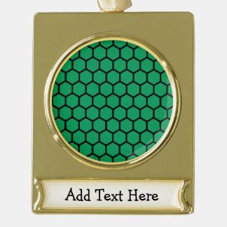 Emerald Hexagon 4 Gold Plated Banner Ornament