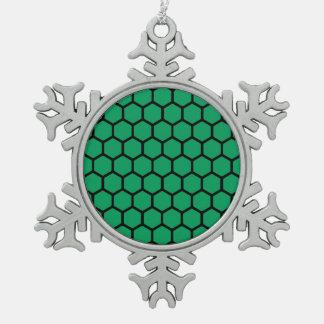 Emerald Hexagon 4 Snowflake Pewter Christmas Ornament