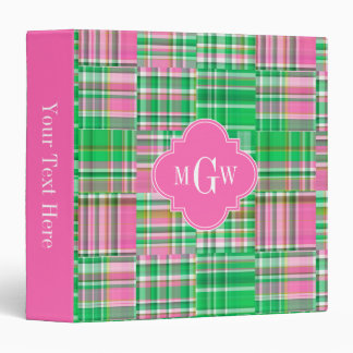 Emerald Hot Pink Preppy Patchwork Madras Monogram 3 Ring Binder