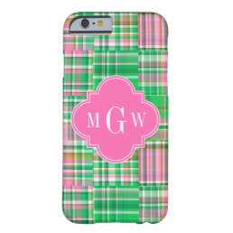 Emerald Hot Pink Preppy Patchwork Madras Monogram Barely There iPhone 6 Case