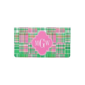 Emerald Hot Pink Preppy Patchwork Madras Monogram Checkbook Cover