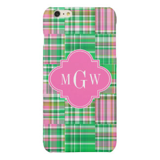 Emerald Hot Pink Preppy Patchwork Madras Monogram Glossy iPhone 6 Plus Case