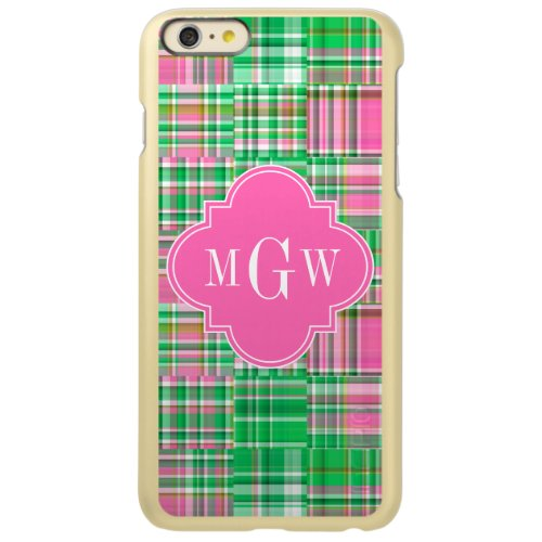 Emerald Hot Pink Preppy Patchwork Madras Monogram Phone Case