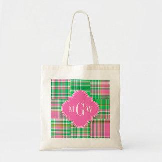 Emerald Hot Pink Preppy Patchwork Madras Monogram Tote Bag