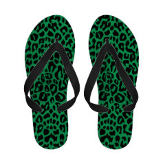 Emerald Leopard Flip Flops