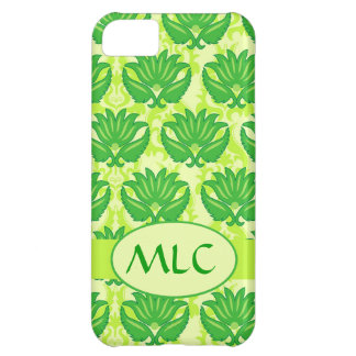 Emerald Lime Green Art Nouveau Damask Monogram Cover For iPhone 5C