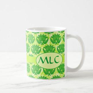 Emerald Lime Green Art Nouveau Damask Monogram Classic White Coffee Mug