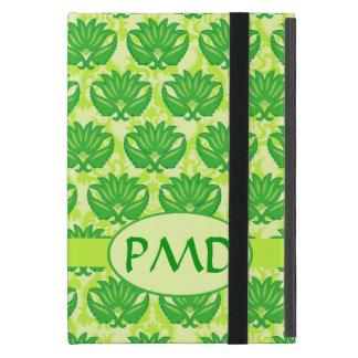 Emerald Lime Green Art Nouveau Damask Monogram Cover For iPad Mini
