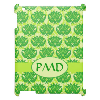 Emerald Lime Green Art Nouveau Damask Monogram Cover For The iPad