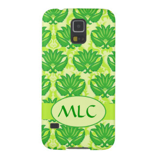 Emerald Lime Green Art Nouveau Damask Monogram Galaxy S5 Case