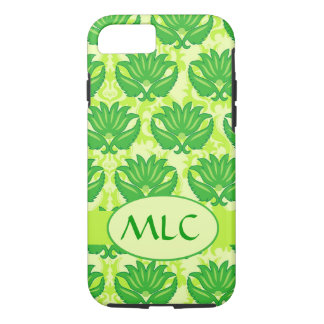 Emerald Lime Green Art Nouveau Damask Monogram iPhone 7 Case