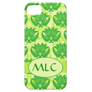 Emerald Lime Green Art Nouveau Damask Monogram iPhone SE/5/5s Case