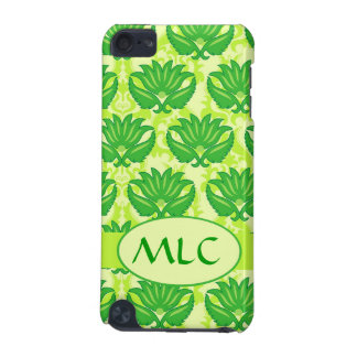 Emerald Lime Green Art Nouveau Damask Monogram iPod Touch (5th Generation) Case